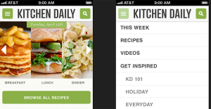 Original design comp - note the left and right arrows, different menu order, and new 'browse all recipes button